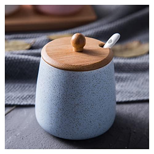 Adatto per stoviglie in Ceramica condimento Piatto Scatola di condimento con Coperchio per Inviare Cucchiaio Salt Shaker Zucchero Ciotola Pepe Shaker Spray Cucina Utensili da Cucina (Color : Bule)