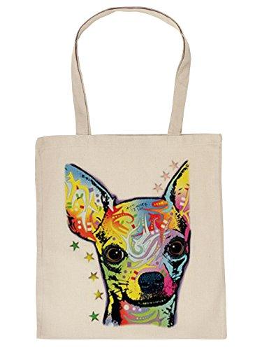 Cool bedruckte Stofftasche/Jutebeutel/Einkaufstasche in wollweiß/creme mit trendy Neon Motiv: Chihuahua