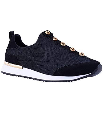Mercedes Campuzano Women's Monaco Walking Shoes Sock Sneakers Comfortable Fashion Sneakers (5.5, Black)