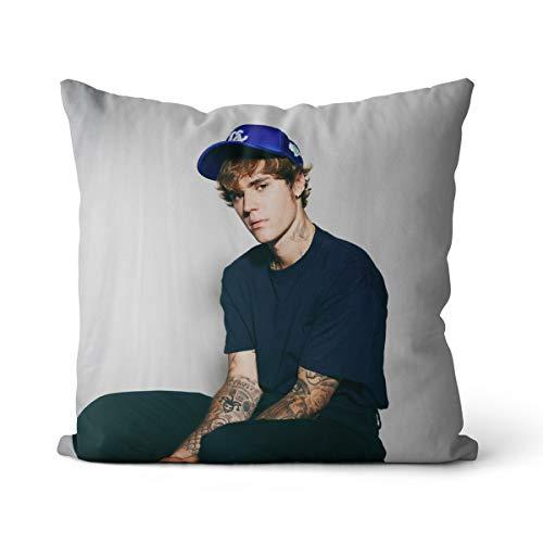 Funda de Almohada Antiarrugas Justin Bieber 40x40cm más Popular Justin Bieber Adecuada para sofá Funda de Almohada de enfermería, sin Relleno