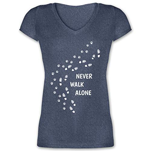 Hunde - Never Walk Alone Pfotenabdrücke - M - Dunkelblau meliert - pfotenabdruck Damen - XO1525 - Damen T-Shirt mit V-Ausschnitt