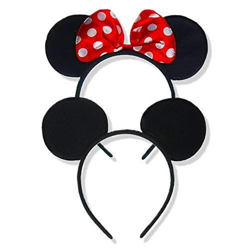 Set of 2 Mickey Mouse Ears Headband Minnie Mouse Ears for Minnie Mouse Costume for Women/Girls Mickey Mouse Ears for Mickey Mouse Costume for Men/Boys Christmas Mickey Ears Mickey and Minnie Ears