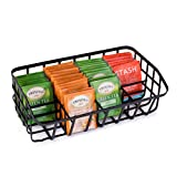 Baflan Tea Bag Organizer Caddy - Tea Box Storage Holder for Tea, Sugar Packets, Sweeteners, Small Packets - Black