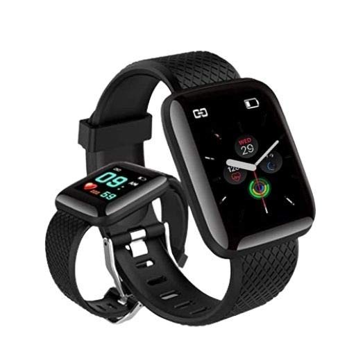 Rhobos [Today Only Sale] DF-77 Touchscreen Smart Watch Bluetooth Smartwatch with Heart Rate Sensor and Basic Functionality for All Boys & Girls