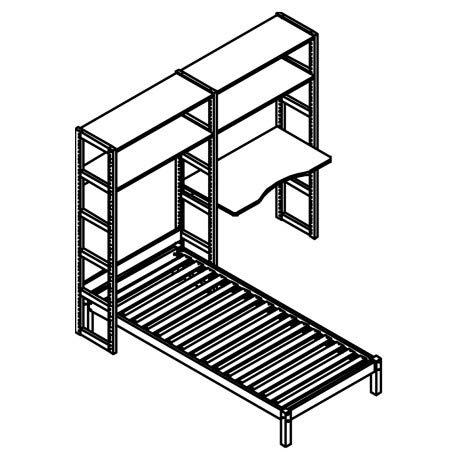 Alfred & Compagnie 2 Module 4 Einlegeböden 100 cm + Schreibtisch + Bett 90 x 200 cm