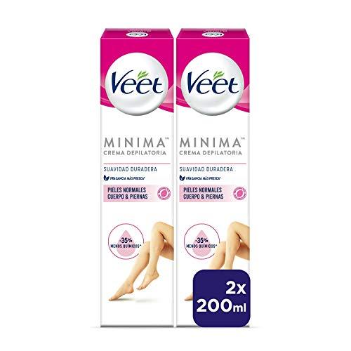 Veet Crema Depilatoria Corporal para Mujer para Pieles Normales - Suavidad Duradera - Duplo Pack 2x200ml