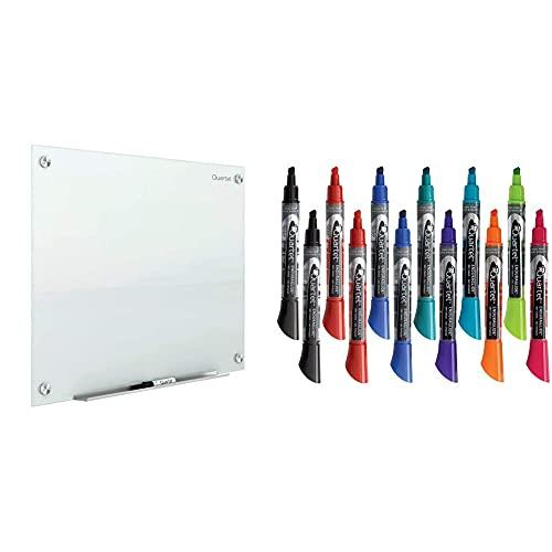 Quartet Glass Whiteboard, Magnetic Dry Erase White Board, 3' x 2', White Surface & Dry Erase Markers, Whiteboard Markers, Chisel Tip, EnduraGlide, Assorted Colors, Bold Color, 12 Pack