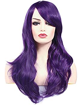 Morvally 23 inches Long Wig Big Wavy Heat Resistant Synthetic Straight Hair with Bangs for Womens Cosplay Costume Halloween Party  Purple