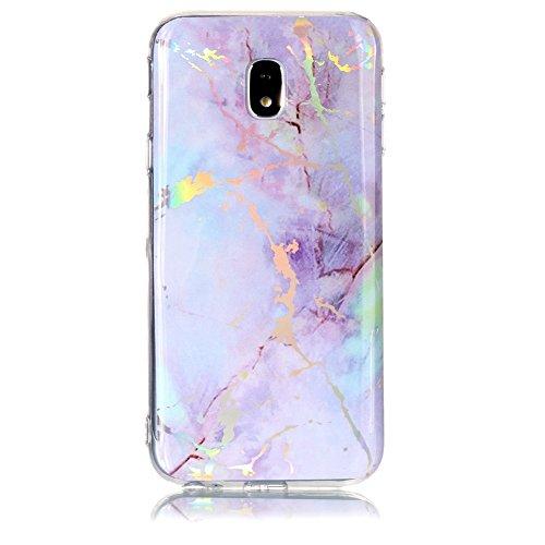 XINYIYI Coque Silicone Marbre Design pour Samsung Galaxy J3 2017, Ultra Mince Glitter Paillette TPU Flexible Soft Case Housse Etui Brillant de Protection Anti Choc- Violet Or
