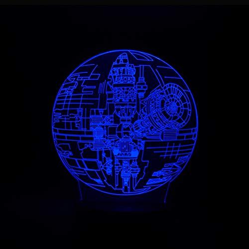 orangeww Luces de ilusión óptica 3d / 7 colores Luz de noche de ilusión remota/Bar Decoración para el hogar Regalos de juguete/kid Cafe /Death Star