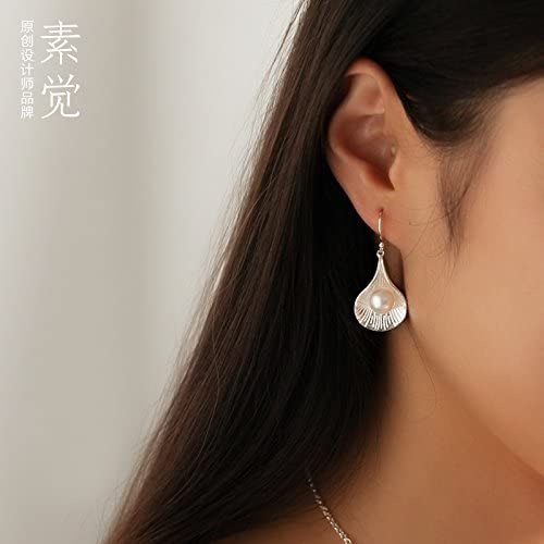 BAGEHAN Ms 925 Silber Perle Schmuck Silber handgefertigten Ohrringe Ohrringe Ohrringe Fanshaped Bmpe