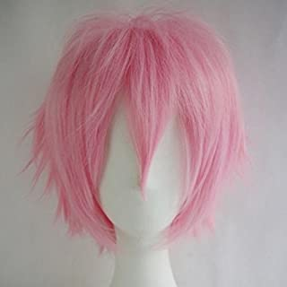 Short Anime Cosplay Wigs for Women and Men Unisex Halloween Costume Pink Wig Oblique Bangs + One elastic wig cap for free