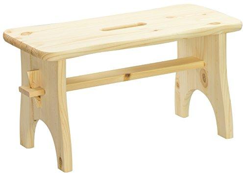 LAUBLUST - Fußbank aus Holz mit Tragegriff - Größe M - Kiefer Unbehandelt ca. 38 x 19 x 21 cm - Fußhocker aus 100% Massivholz