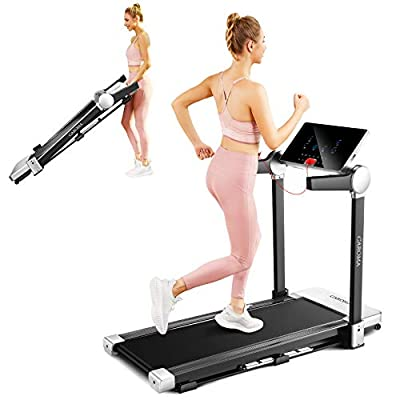 Caroma Electric Folding Treadmill,3.0HP Fitness Motorized Cardio Training Running Jogging Machine Portable Compact Treadmill Perfect for Home/Office/Gym with Large Display,12 Preset Programs