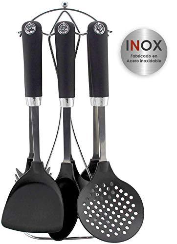 Bastilipo - Ginebra - Set de accesorios de cocina - 7 piezas: Espumadera, cucharon, cazo, espatula, espatula perforada, cucharon de pasta, soporte de acero inoxidable