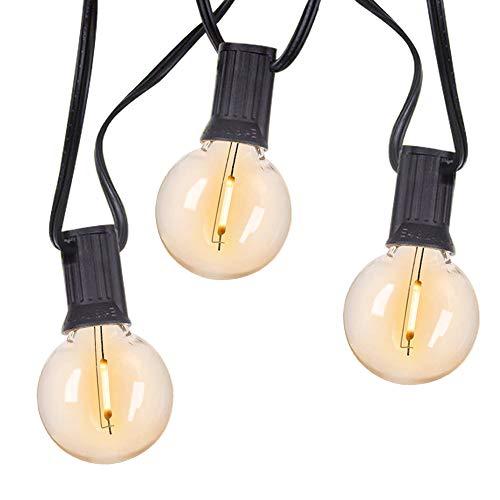 Sunthin - Guirnalda de luces para exterior e interior, 2700 K, luz blanca cálida, IP45, 16 metros con 24 bombillas G40 regulables con 1 bombilla de repuesto para balcón, jardín, fiesta, Navidad, boda