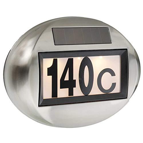SIDCO Solar Hausnummer Beleuchtung Hausnummernleuchte Lampe beleuchtet LED Edelstahl