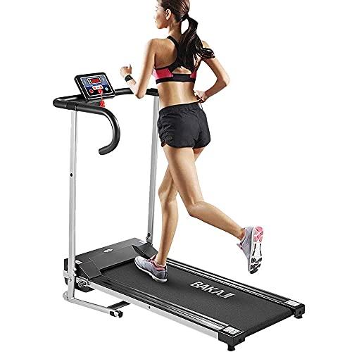 BAKAJI Tapis Roulant Elettrico Pieghevole Professionale Allenamento Cardio Fitness Tappeto Palestra Velocità Massima 10 km/h con Schermo LCD e Chiave di Sicurezza Dimensione 128 x 60 x 118 cm