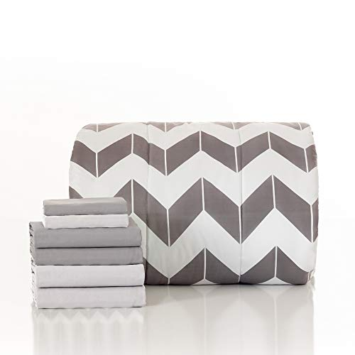 Dawn 7-Piece Bed-in-a-Bag Plus Comforter Set in Gray Chevron   Twin/Twin XL   Reversible Comforter and Two Coordinating Sheet and Pillowase Sets   Gray and White
