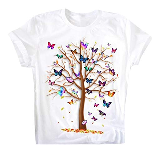 jieGorge Tops for Women Elegant, Women's Casual Round Neck Short Slee Butterfly Tree Print Top T Shirt, Casual Blouse for Women (White L)