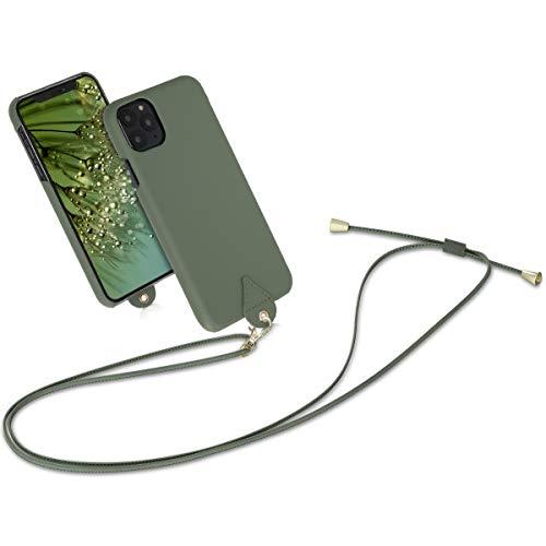 kwmobile Hülle kompatibel mit Apple iPhone 11 Pro Max - mit Kordel zum Umhängen - Kunstleder Handy Schutzhülle