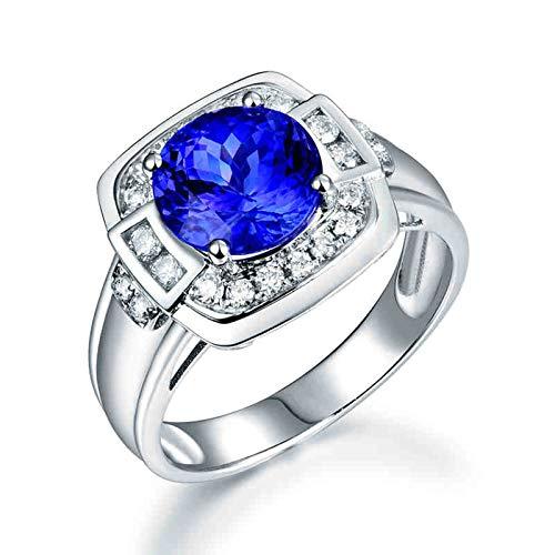 Beydodo Anillos Hombre Compromiso,Anillo de Hombre de Oro Blanco 18 K Plata Azul Redondo Tanzanita Azul 2.5ct Diamante 0.42ct Talla 25(Circuferencia 65MM)