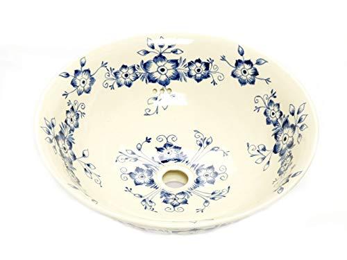 Stella - Mexikanisches Waschbecken aus Keramik - Cerames | Waschschale 40,5 cm x 15 cm | Aufsatzwaschbecken aus Mexiko für Badezimmer, Gäste WC, Toiletten