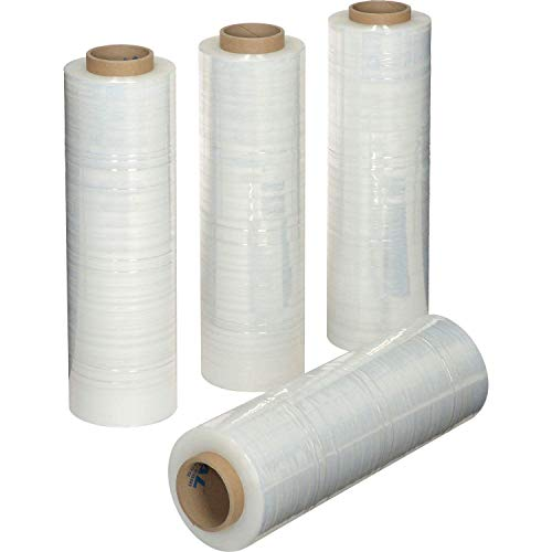 """18""""x 1200 FT Roll - 80 Gauge Thick 28 Lbs per Case, Stretch wrap Moving & Packing Wrap. Industrial Strength, Plastic Pallet Shrink Film Ideal For Furniture, Boxes, Pallets… (CLEAR) (4 PACK)"""