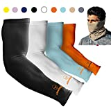 ARMORAY Arm Sleeves for Men or Women Basketball Golf Running, Black, Size Large