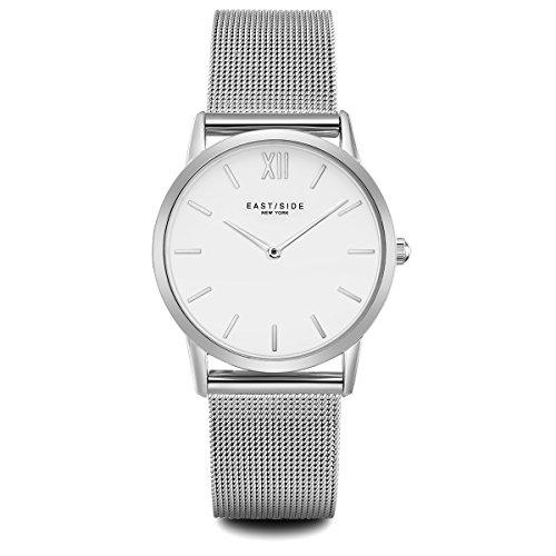 Eastside Damen Uhr analog Japanisches Quarzwerk mit Edelstahl Armband Silber 3 ATM 10080025