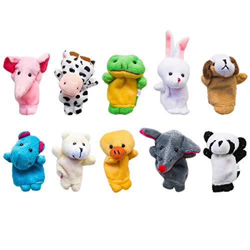 TSMALL 10 Piezas Suaves Marionetas de Dedo de Animales pequeños Lindas muñecas de Mano Juguete de Regalo, para niños pequeños cumpleaños Fiesta Infantil Bautismo Baby Shower