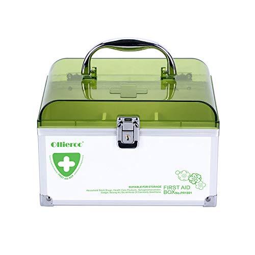 Ollieroo Lockable Medication Box Organizer Small Medicine Lock Box with Compartments Childproof Prescription Storage Box 8.465.875.51 inch Green