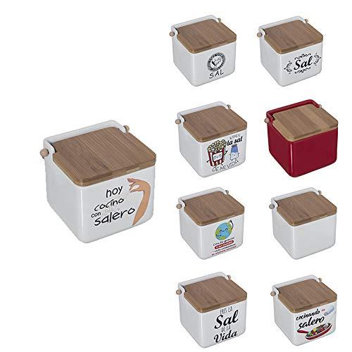 TIENDA EURASIA® Saleros de Cocina con Tapa Originales - Cerámica con Tapa de Bambú - 12x12x12cm (Hoy COCINO con SALERO)