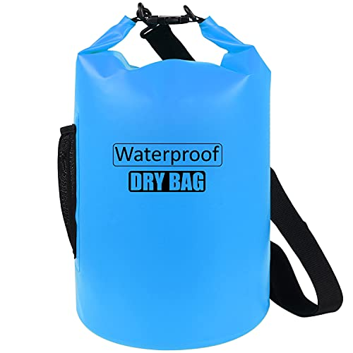 AILGOE Waterproof Bag 5L 10L 15L 20L 25L 30L 40L,Lightweight Dry Bag With long adjustable Shoulder Strap Perfect for Drifting Boating Kayaking Fishing Rafting Swimming Camping(Blue,10L)