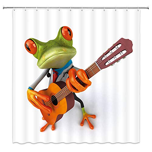 AMNYSF Lustiger Frosch schöner Pfau Bald Adler Biber Decor Home Duschvorhang, 177,8 x 177,8 cm Wasserdichter Polyester-Stoff Badezimmer-Zubehör Gardinen mit 12 Haken Modern 70x70 Inch Frog 6