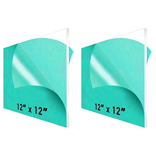 """12 x 12"""" Clear Acrylic Sheet Plexiglass (2-Pack) – 1/4"""" Thick; Use for Craft Projects, Signs, DIY Projects and More; Cut with Cricut, Saw or Hand Tools – No Knives"""