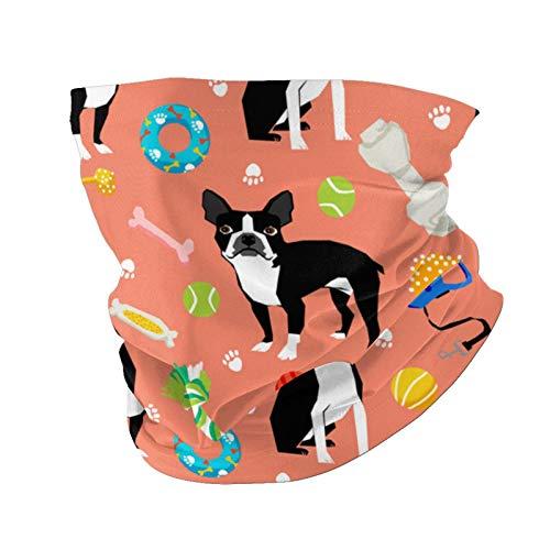 Ccycjasdkfewl Bufanda de cuello Boston Terrier con protección UV para el cuello, pasamontañas variada, para mujeres y hombres, color negro con bolsillo interior
