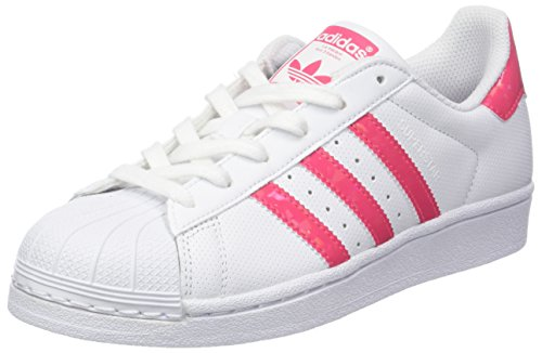 adidas Unisex-Kinder Superstar Gymnastikschuhe, Elfenbein (FTWR White/real Pink S18/ftwr White), 38 EU