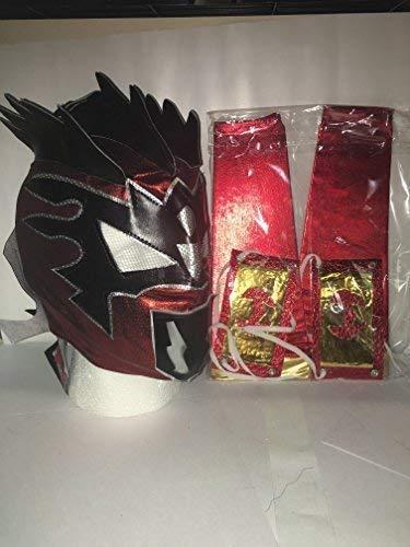 Kalisto Ringmaske mit Reißverschluss und 2 Armstulpen für Kinder, Metallic-Rot