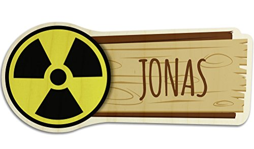 printplanet Türschild aus Holz mit Namen Jonas - Motiv Radioaktiv - Namensschild, Holzschild, Kinderzimmer-Schild