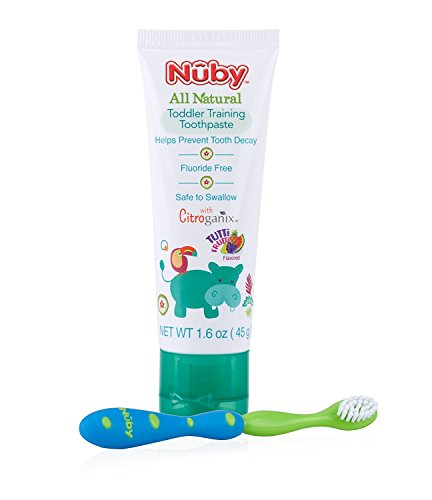 Dr. Talbot's All Natural Toddler Toothpaste with Citroganix with Toothbrush, Blue/Green