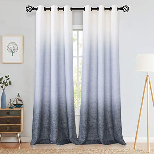 "Central Park Ombre Window Curtain Panel Linen Gradient Print on Rayon Blend Fabric Drapery Treatments for Living Room/Bedroom, Cream White to Navy Blue, 40"" x 84"", Set of 2"