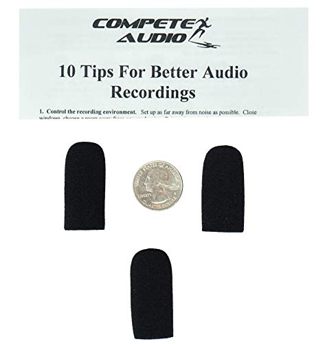 Compete Audio DC36 replacement foam microphone windscreen (microphone cover) (3-pack) for use with David Clark Aviation Headset
