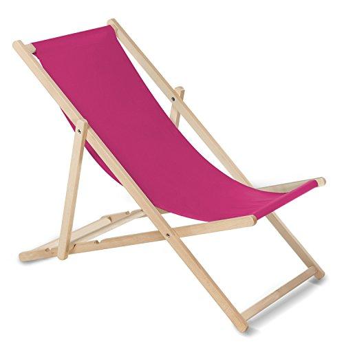 GreenBlue Liegestuhl Sonnenliege Klappbar aus Buchholz ohne Armlehne Sonnenliege Gartenliege Liege (Rosa)