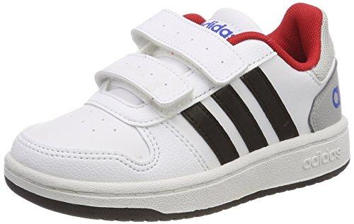 adidas Vs Hoops 2.0 CMF C, Zapatillas de Gimnasia Unisex Niños, Multicolor (FTWR White/Core Black/Scarlet), 38 EU