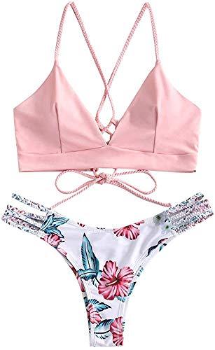 JFAN Donna Bikini Intrecciato con Stampa Floreale a Foglia Costumi da Bagno Costumi da Bagno Perizoma Bikini Spalline Regolabili