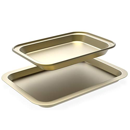 """Baking Sheets Set of two, Cookie Sheets for Oven Nonstick, Include 2 Size of Baking Pans (13''9"""" & 11""""7"""") Carbon Steel Cookie Sheets w/Rimmed Border for Toaster Oven Replacement"""