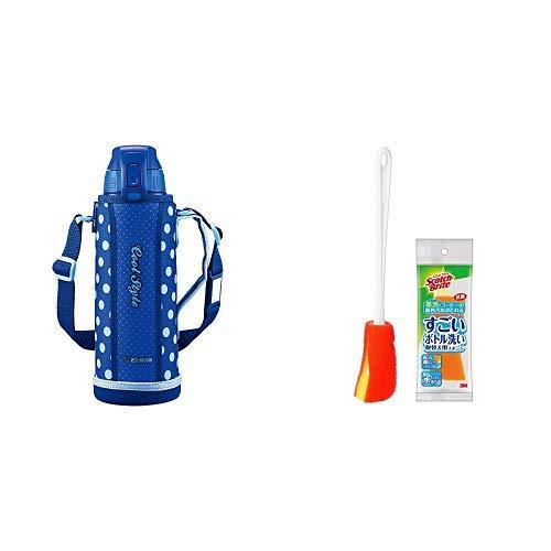 【セット買い】象印 (ZOJIRUSHI) 水筒 直飲み スポーツタイプ ステンレスクールボトル 1.0L ブルードット SD-FA10-AZ + すごいボトル洗いセット