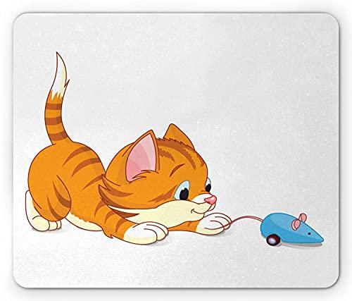 Katz und Maus Mauspad, Karikaturbild eines Kätzchens, das lächelt und mit einer Spielzeugmaus spielt, rechteckiges rutschfestes Gummimousepad, Standardweißorange