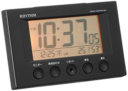 『リズム(RHYTHM) 目覚まし時計 電波時計 温度計・湿度計付き フィットウェーブスマート 黒 7.7×12×5.4cm 8RZ166SR02』の2枚目の画像